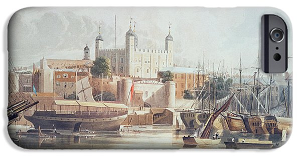 Print Photographs iPhone Cases - View Of The Tower Of London, Engraved By Daniel Havell 1785-1826 Pub. In Ackermanns Repository iPhone Case by John Gendall