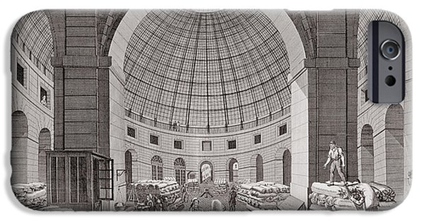 Dome iPhone Cases - View Of The Wheat Market And The Cupola, 18th-19th Century Engraving iPhone Case by Pierre Courvoisier
