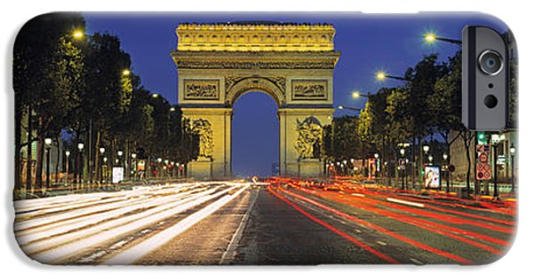 Night Lamp iPhone Cases - View Of Traffic On An Urban Street iPhone Case by Panoramic Images