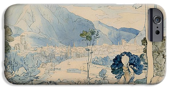 Crayons Drawings iPhone Cases - View of Trento  iPhone Case by Carl Fohr