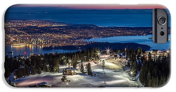Burrard Inlet iPhone Cases - View of Vancouver city from Grouse Mountain iPhone Case by Pierre Leclerc Photography
