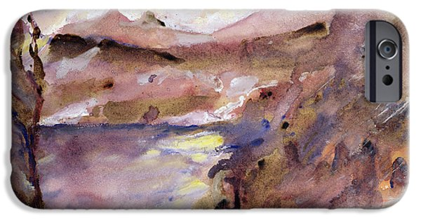 Reservoir iPhone Cases - View of Walchen Lake iPhone Case by Lovis Corinth