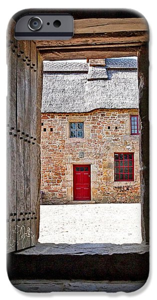 Interior Scene iPhone Cases - View Through The Old Door iPhone Case by Gill Billington