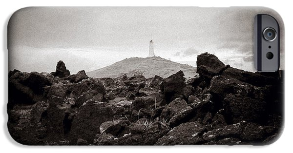 Lighthouse iPhone Cases - View Towards Reykjanesviti iPhone Case by Dave Bowman