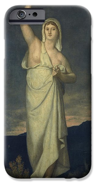 Oil Lamp Photographs iPhone Cases - Vigilance, 1867 Oil On Canvas iPhone Case by Pierre Puvis de Chavannes