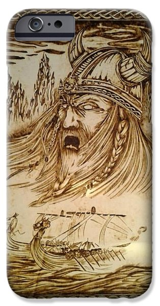 Ghosts Pyrography iPhone Cases - Viking Ghost iPhone Case by G S