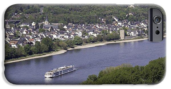 Boat Cruise iPhone Cases - Viking Ingvi Cruising the Rhine in Braubach iPhone Case by Teresa Mucha