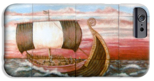 Vikings Paintings iPhone Cases - Viking Ship At Sea iPhone Case by Mackenzie Moulton