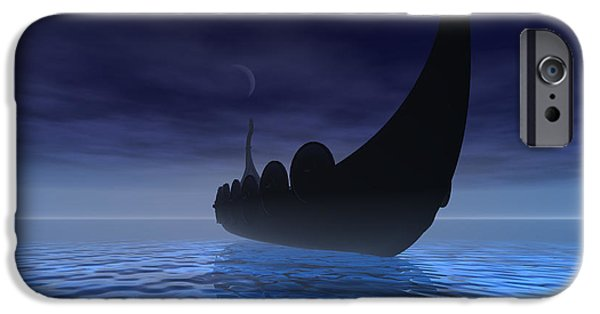 Ancient iPhone Cases - Viking Ship iPhone Case by Corey Ford