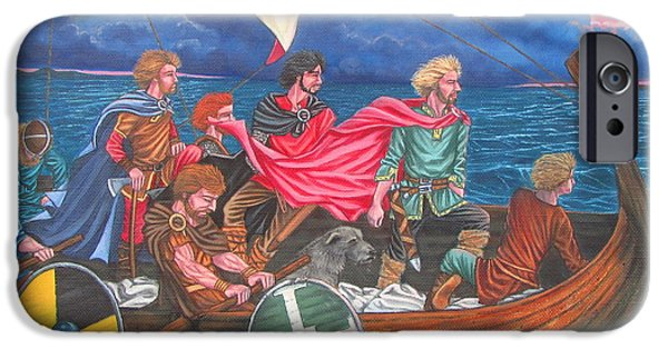 Vikings Paintings iPhone Cases - Vikings iPhone Case by Elizabeth Mailly