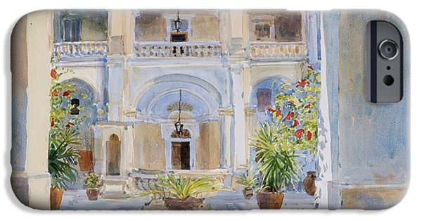 Maltese iPhone Cases - Vilhena Palace, 2011 Wc On Paper iPhone Case by Lucy Willis
