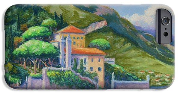 Original Pastels iPhone Cases - Villa Balbianello Lake Como iPhone Case by John Clark