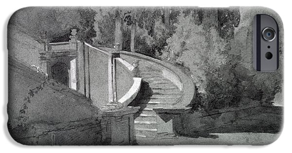 Staircase iPhone Cases - Villa Deste, Tivoli iPhone Case by Hercules Brabazon Brabazon