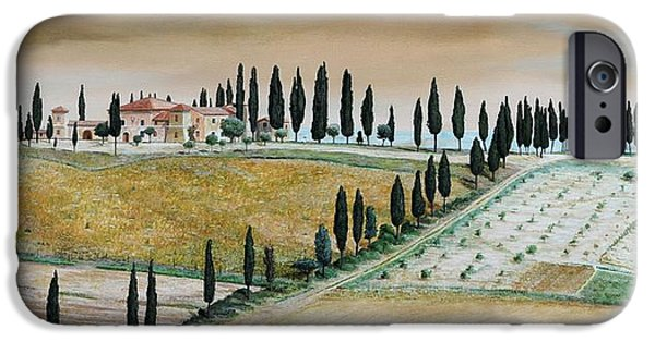 Tuscan Landscapes iPhone Cases - Villa On Hill, Tuscany, 2001 Oil On Canvas iPhone Case by Trevor Neal