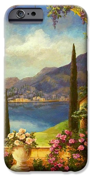 Tuscan Landscapes iPhone Cases - Villa Rosa iPhone Case by Evie Cook