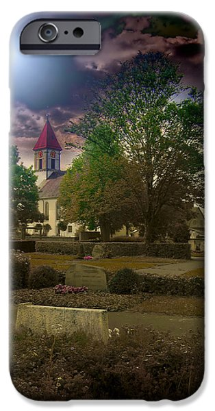 Headstones iPhone Cases - Village Church iPhone Case by Mountain Dreams