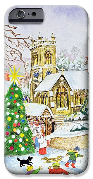 Snowball iPhone Cases - Village Festivities, 2005 Wc On Paper iPhone Case by Tony Todd