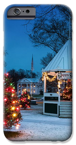 Village Green Holiday Greetings- New Milford Ct - iPhone Case by Thomas Schoeller
