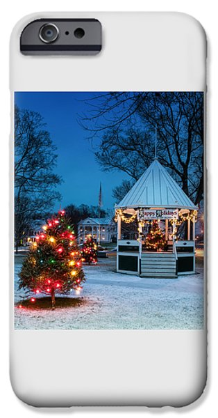 Recently Sold -  - New England Snow Scene iPhone Cases - Village Green Holiday Greetings- New Milford Ct - iPhone Case by Thomas Schoeller