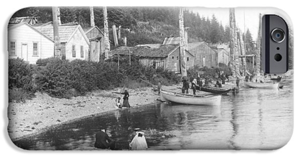 Clapboard House iPhone Cases - Village In Alaska, C.1900 Bw Photo iPhone Case by American Photographer