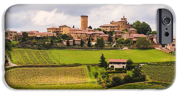 Oingt iPhone Cases - Village in French Countryside iPhone Case by Allen Sheffield
