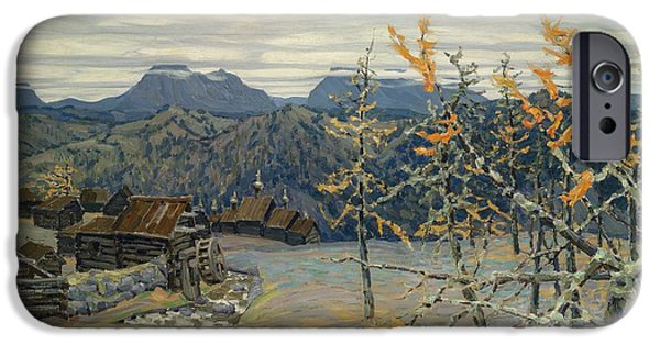 Frigid iPhone Cases - Village in the Ural Mountains iPhone Case by Apollinari Mikhailovich Vasnetsov