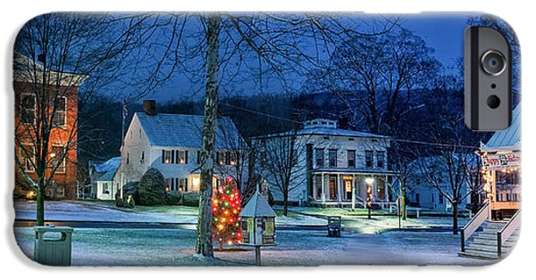 Recently Sold -  - New England Snow Scene iPhone Cases - Village of New Milford - Winter Panoramic iPhone Case by Thomas Schoeller