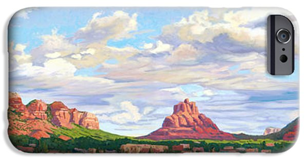Sedona Paintings iPhone Cases - Village of Oak Creek - Sedona iPhone Case by Steve Simon