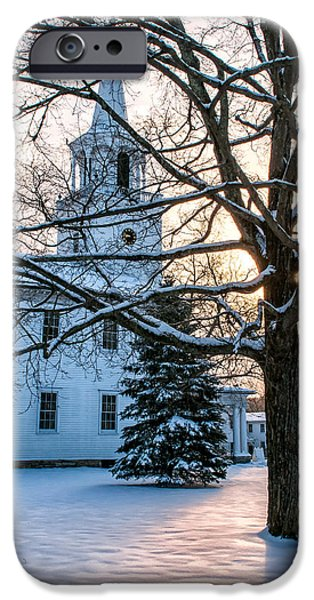 New England Snow Scene iPhone Cases - Village of Washington Depot - Connecticut iPhone Case by Thomas Schoeller