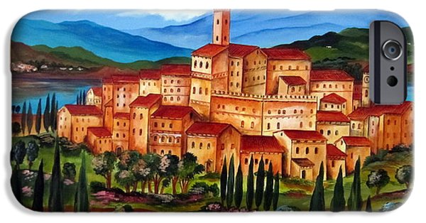 Roberto Paintings iPhone Cases - Village on the lake iPhone Case by Roberto Gagliardi