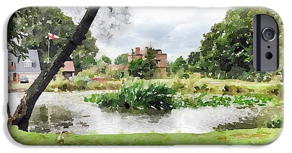 Wark iPhone Cases - Village Pond Watercolor iPhone Case by John Edwards