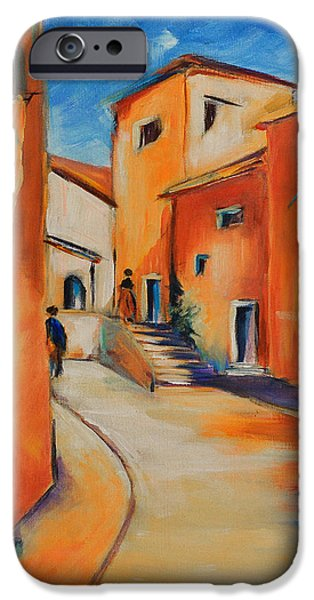 Village iPhone Cases - Village Street in Provence iPhone Case by Elise Palmigiani