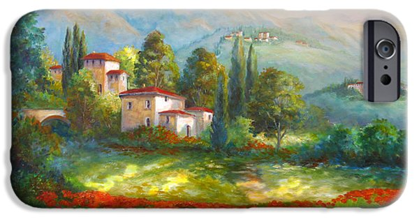 Italian Landscapes Paintings iPhone Cases - Village with poppy fields  iPhone Case by Gina Femrite