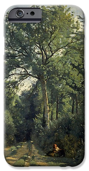 Rural iPhone Cases - Ville Davray Entrance To The Wood, C.1825, Oil On Canvas iPhone Case by Jean Baptiste Camille Corot