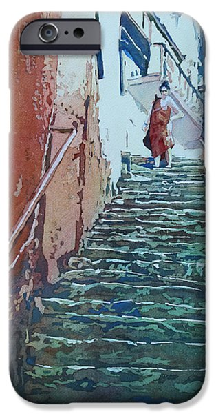 Figures Paintings iPhone Cases - Villiage Stairs iPhone Case by Jenny Armitage