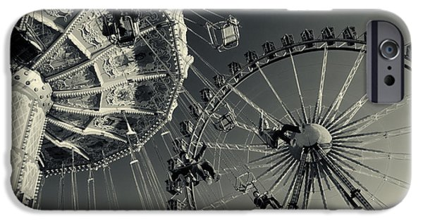 Oktoberfest iPhone Cases - Vinateg Carousel and Ferris Wheel bx at the Octoberfest in Munich iPhone Case by Sabine Jacobs