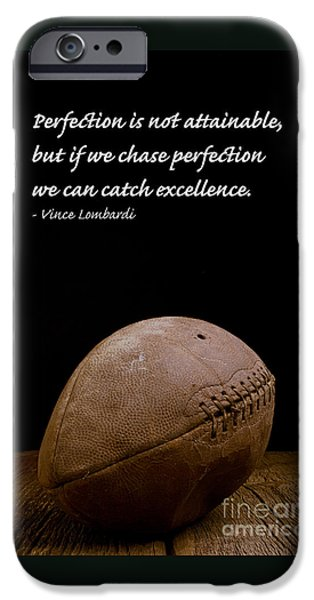 Winning iPhone Cases - Vince Lombardi on Perfection iPhone Case by Edward Fielding