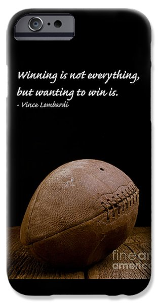 Vince iPhone Cases - Vince Lombardi on Winning iPhone Case by Edward Fielding