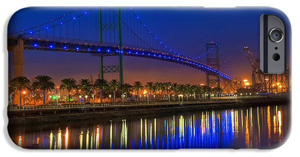 Blue Sky Reflection iPhone Cases - Vincent Thomas Bridge iPhone Case by Eddie Yerkish