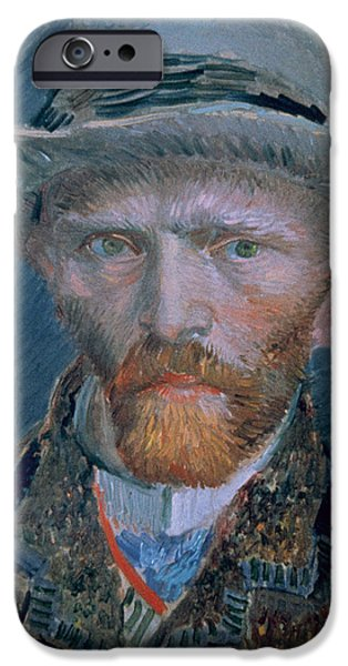 Self Portrait Photographs iPhone Cases - Vincent Van Gogh 1853-1890. Self-portrait. Bust With Brown Jacket And Gray Hat iPhone Case by Bridgeman Images
