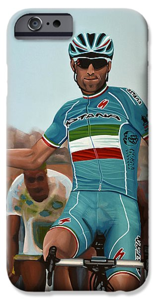 Sports Paintings iPhone Cases - Vincenzo Nibali iPhone Case by Paul Meijering