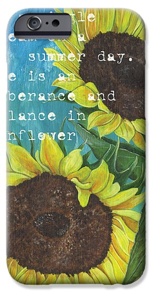 Texture iPhone Cases - Vinces Sunflowers 1 iPhone Case by Debbie DeWitt