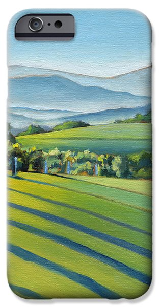 Mist iPhone Cases - Vineyard Blue Ridge on Buck Mountain Road Virginia iPhone Case by Catherine Twomey