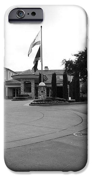 Vineyard Creek Hyatt Hotel Santa Rosa California 5D25789 bw iPhone Case by Wingsdomain Art and Photography