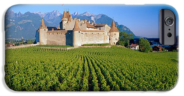 Built Structure iPhone Cases - Vineyard In Front Of A Castle, Aigle iPhone Case by Panoramic Images