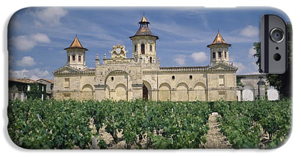 Winery Photography iPhone Cases - Vineyard In Front Of A Castle, Chateau iPhone Case by Panoramic Images