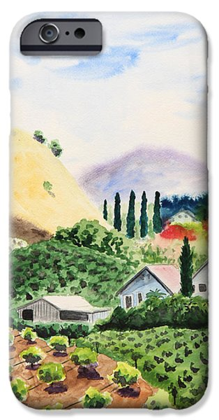 Green Day Paintings iPhone Cases - Vineyard iPhone Case by Masha Batkova