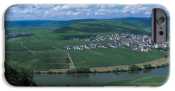 Field. Cloud iPhone Cases - Vineyard Moselle River Germany iPhone Case by Panoramic Images