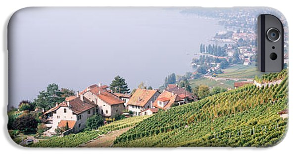 Winery Photography iPhone Cases - Vineyards, Lausanne, Lake Geneva iPhone Case by Panoramic Images