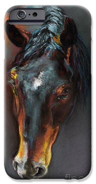 Horse Pastels iPhone Cases - Vinnie Mustang Love iPhone Case by Frances Marino